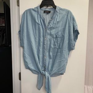 Chambray tie button up shirt